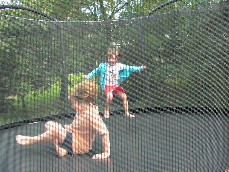 Trampoline at a home exchange house ~ How to Do a Home Exchange