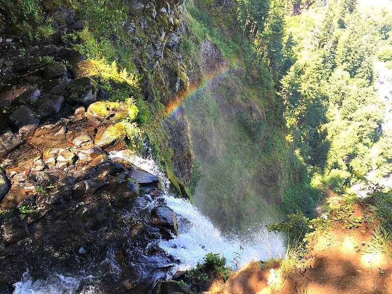 Rainbow prize at the top of Multnomah Falls ~ Portland with Kids