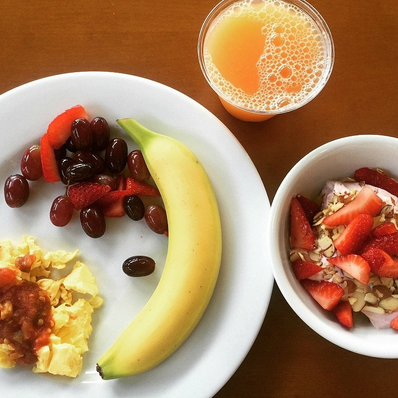 A beautiful breakfast from the buffet at Residence Inn Maui