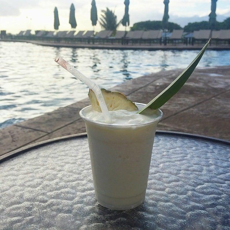 A poolside pina colada at Residence Inn Maui