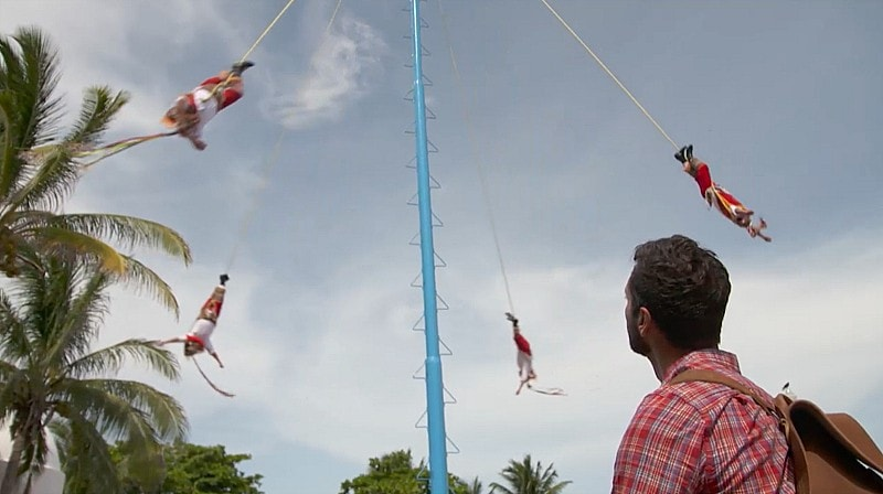 Danza de los Voladores in the Yucatan (Screenshot from The Voyager with Josh Garcia)