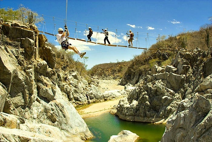 Taking a walk on the wild side on swing bridges and zip lines ~ Cabo San Lucas Tours to Add Excitement to Your Beach Vacation
