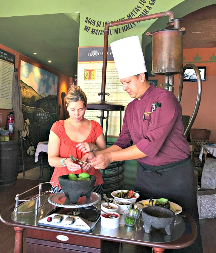 Enjoy a cooking class making guacamole with the Executive Chef at Los Deseos at Marina Fiesta Resort