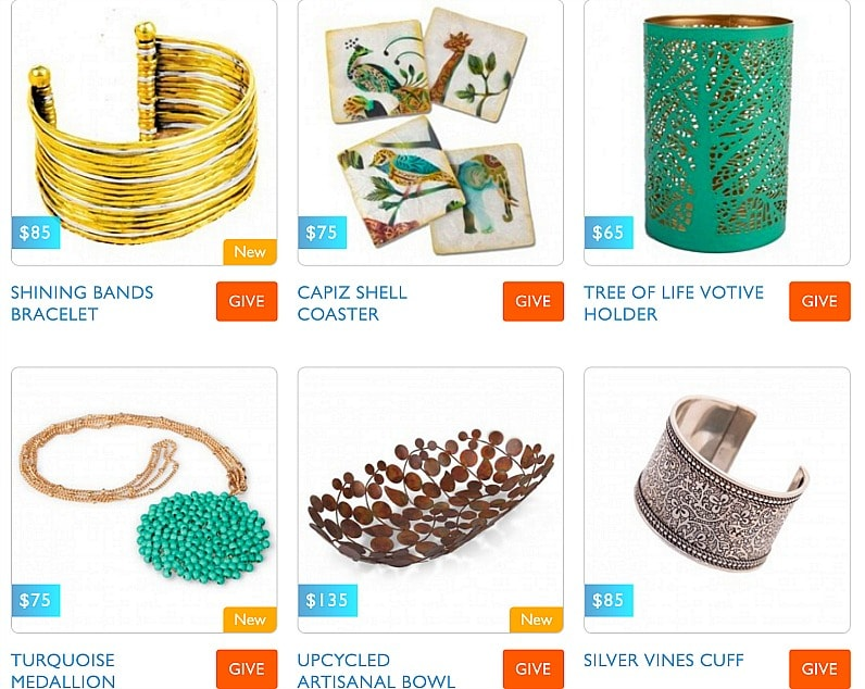 Samples of handcrafted World Vision gifts to give your loved ones this holiday season