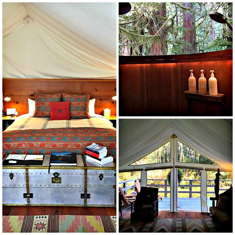 Luxe amenities inside each tent at Clayoquot Wilderness Resort, including an outdoor shower!