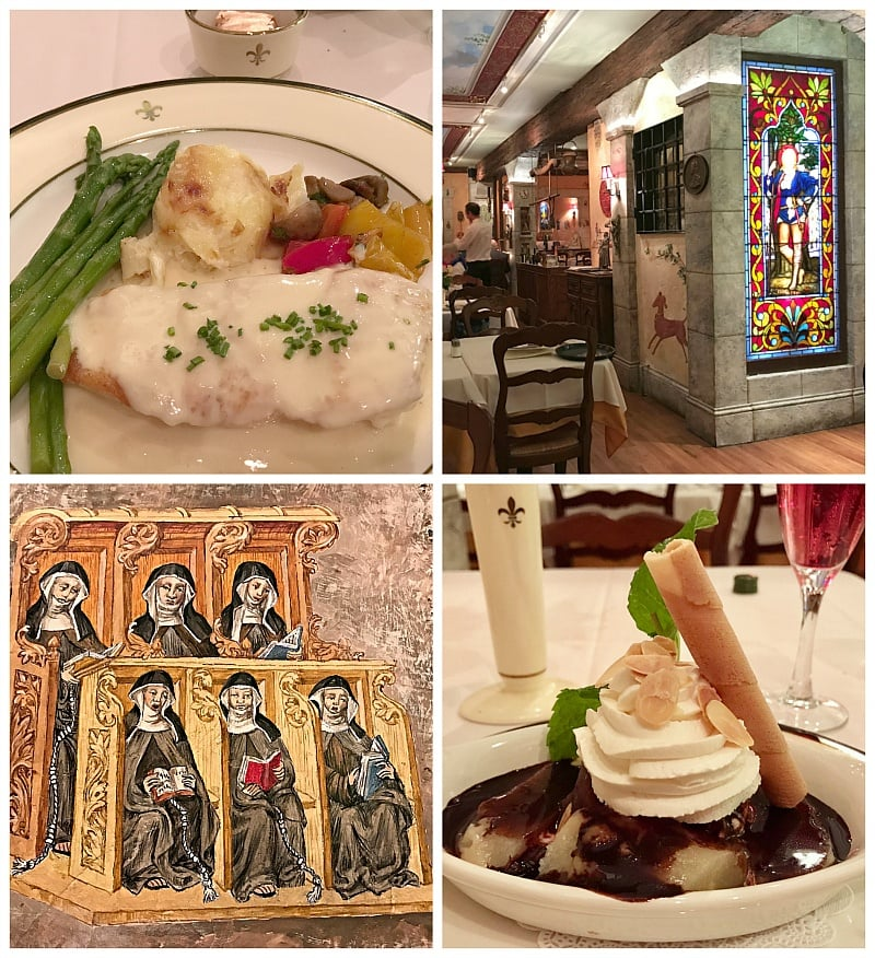 Jean d'Arc Restaurant features traditional French flavors and art depicting Joan of Arc