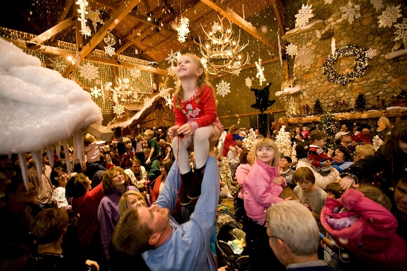 Indoor snow thrills children at Great Wolf Lodge Southern California during the winter holidays