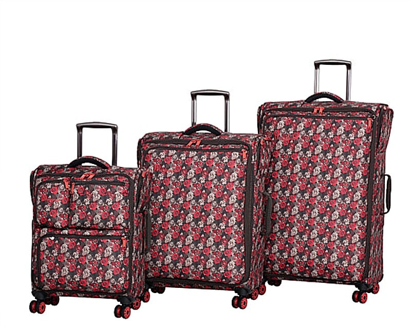 It Luggage Carry Tow Nova Scotia in Brown/Poppy Red Rose Print
