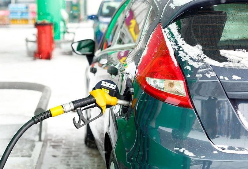 Be sure to fill up your gas tank before setting off on your winter road trip