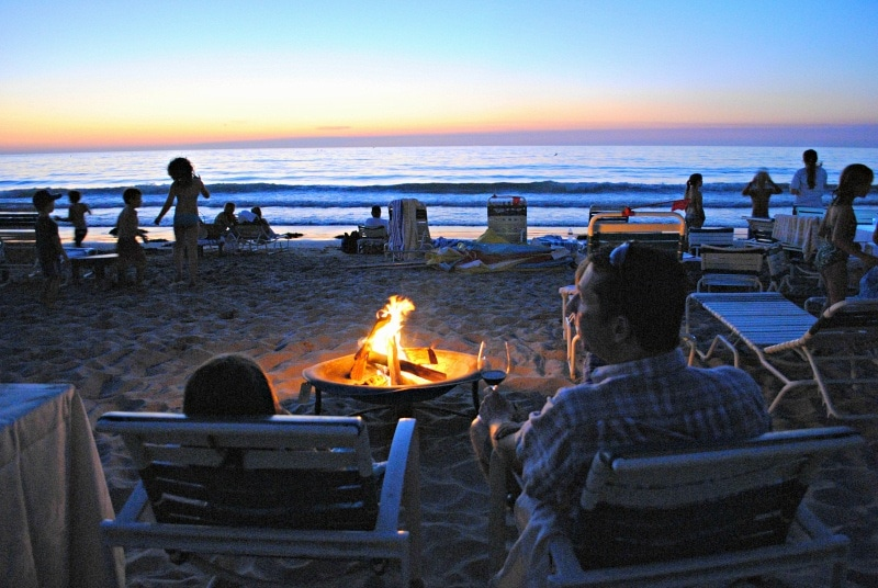 A family bonfire on the beach at La Jolla Beach & Tennis Club