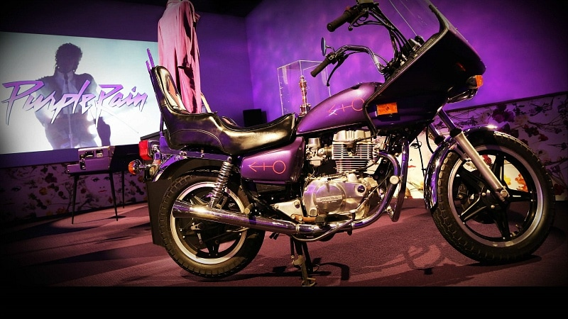 Prince's motorcycle in the Purple Rain Room ~ What It's Like to Tour Paisley Park Where Prince Lived and Worked