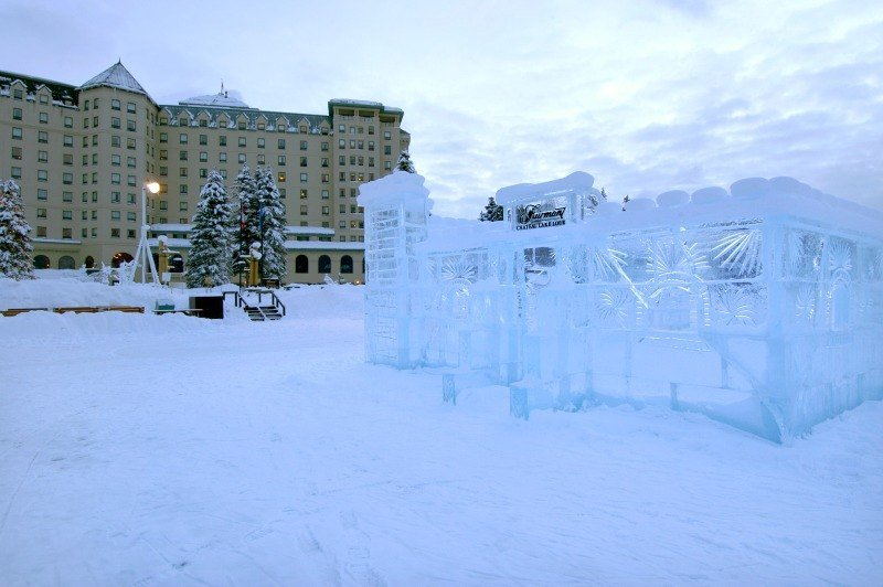 An ice palace is built each year on frozen Lake Louise ~ Why Ski Lake Louise with Kids