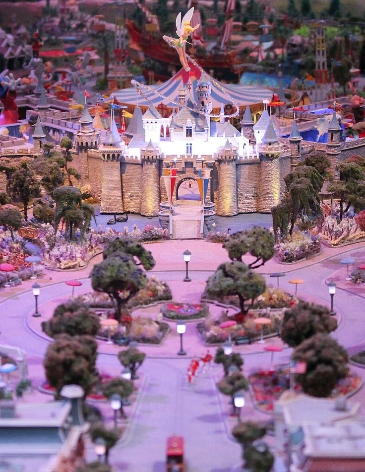 "Known as ""The Disneyland of Walt's Imagination,"" this scale model is a million-dollar masterpiece ~ Can you spot the miniature figures of Walt and his oldest daughter, Diane, walking through the castle into Fantasyland? ~ San Francisco for Star Wars Fans and Comics Lovers, TravelMamas.com"