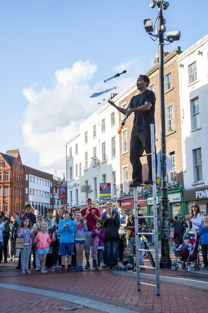 Juggler performing on Grafton Street in Dublin ~ How to Spend the Perfect Day in Dublin, Ireland