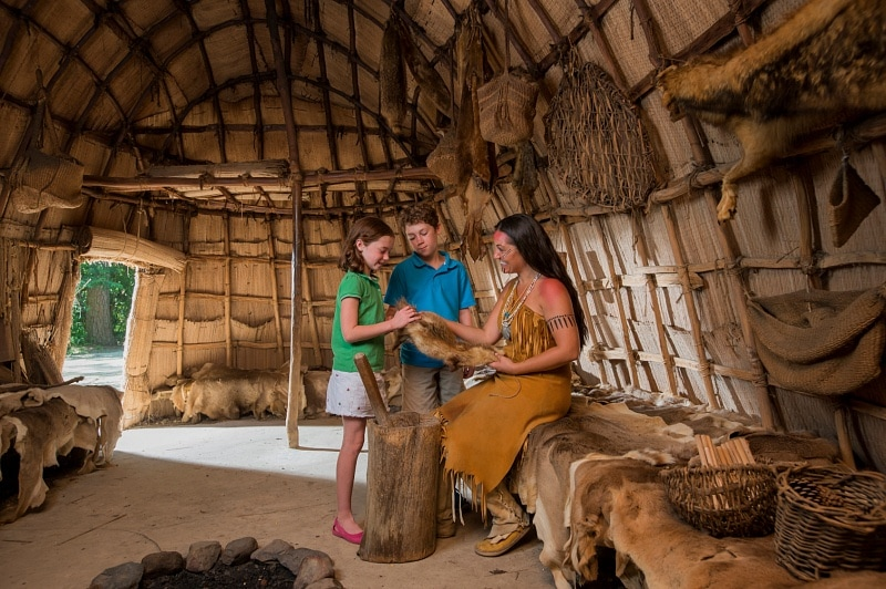 Jamestown Powhatan Indian Village ~ American history is fun for Kids at Jamestown Settlement and American Revolution Museum at Yorktown in Virginia