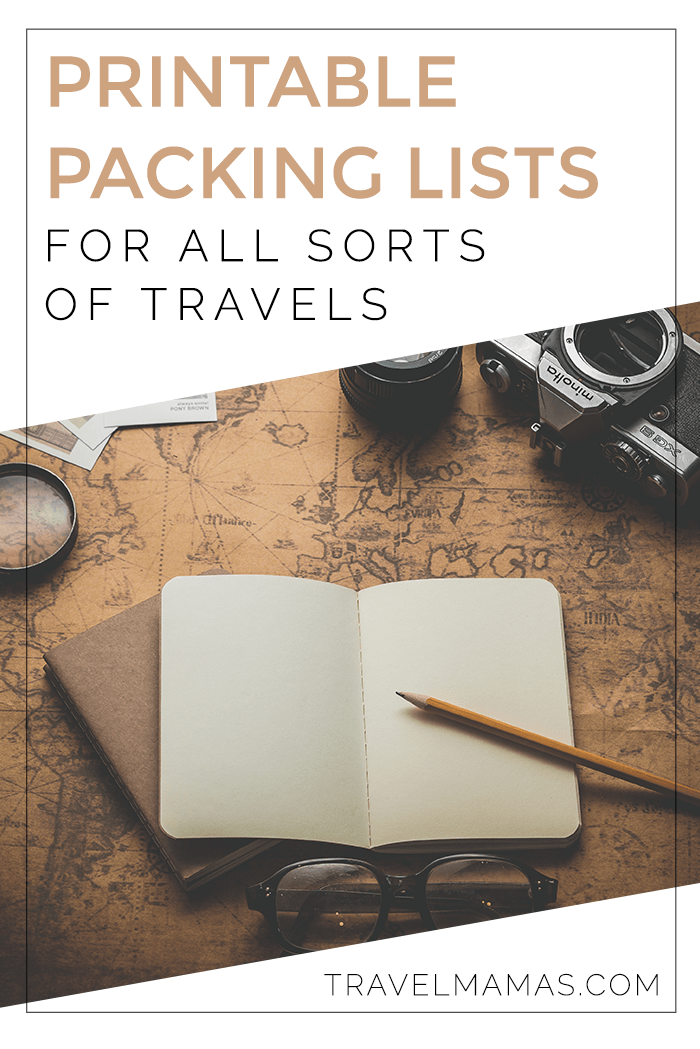 PRINTABLE PACKING LISTS FOR TRAVEL OF ALL SORTS from travel with babies and toddlers, to a kids' pack myself packing list, to a packing list for romantic getaways or business trips and beyond!