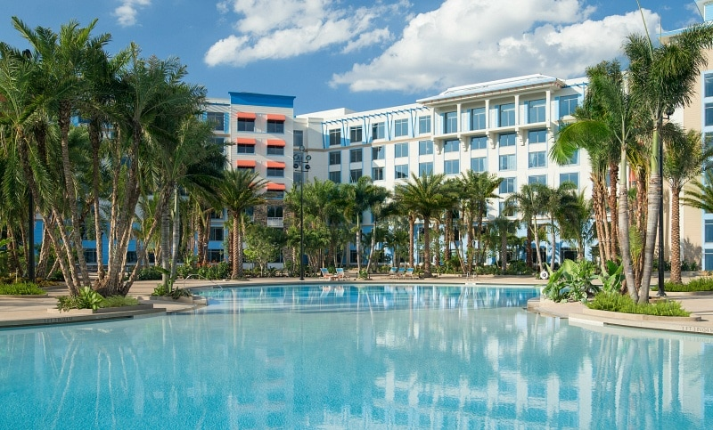 Loews Sapphire Falls Resort is one of five on-site hotel options at Universal Orlando Resort
