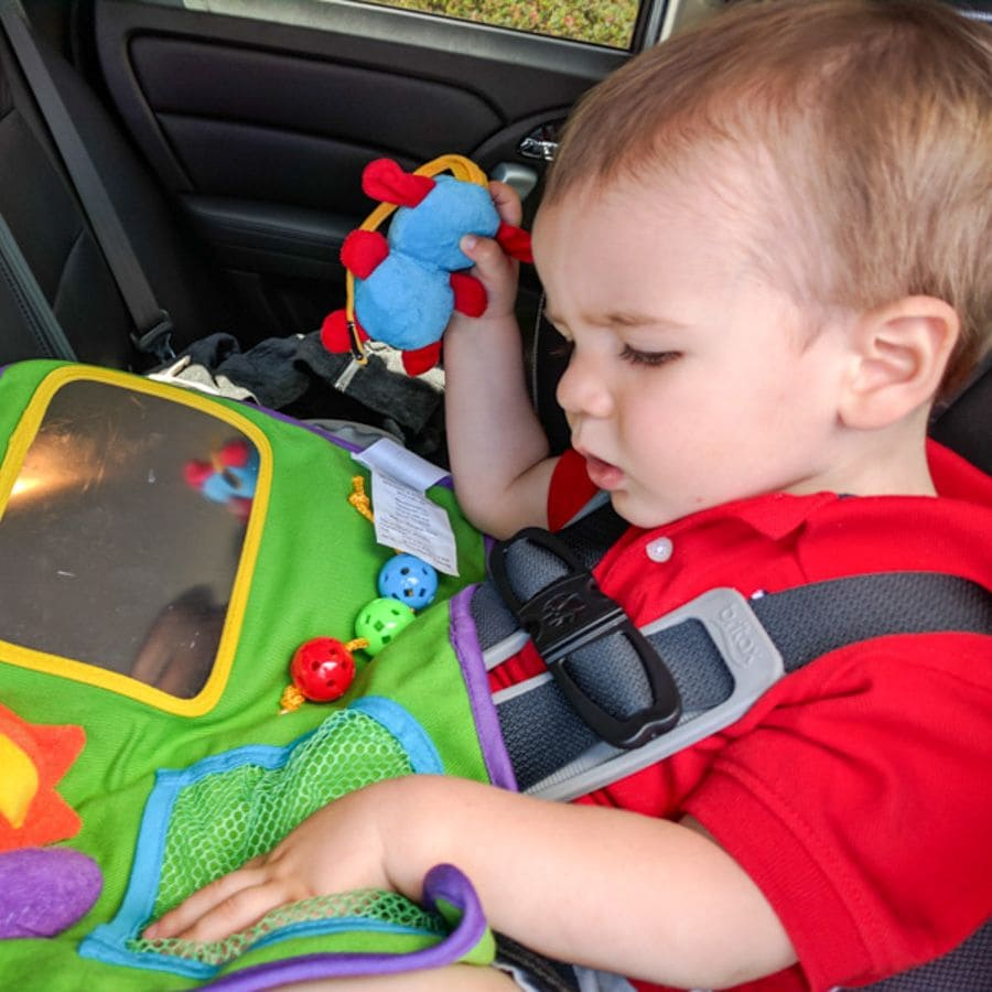 Travel toys like the Play-N-Go Travel Table Cover keep kids content on road trips ~ Family Road Trip Tips