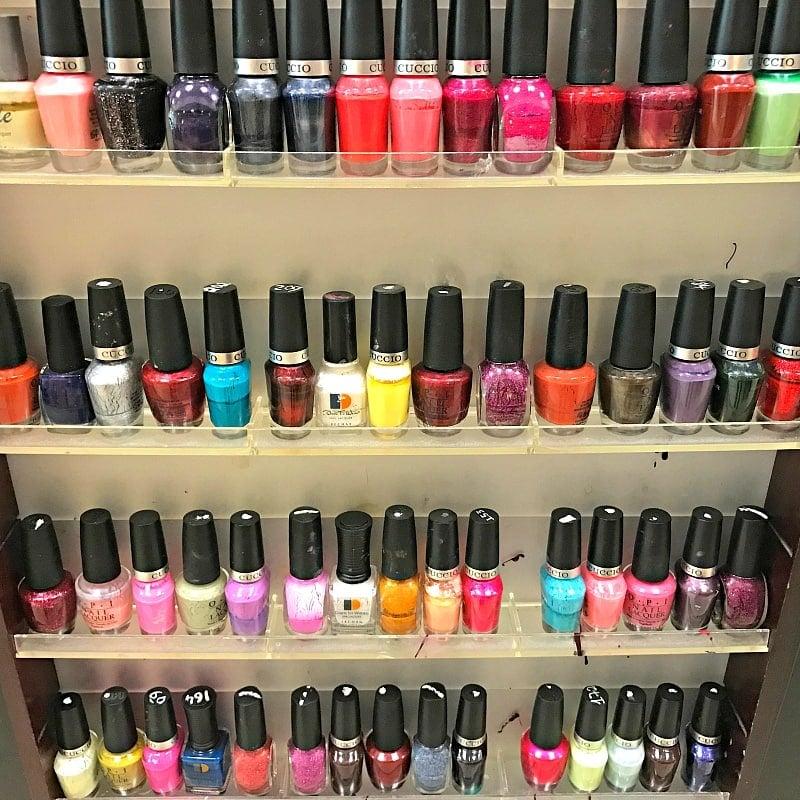 A rainbow of nail colors at LA Nails ~ 30 Fun Things to Do at Mall of America Besides Shop