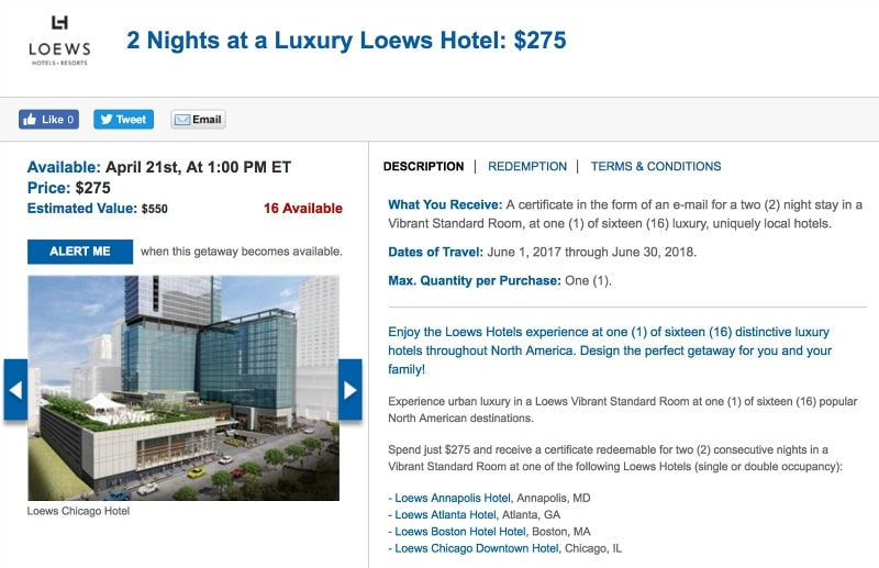 Book this deal on DailyGetaways.com to save hundreds of dollars on a Loews Hotel stay ~ How to Save Big on USA Summer Travel