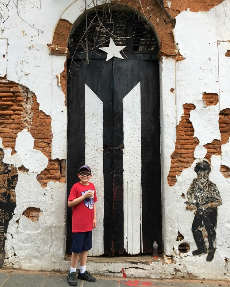 Puerto Rico's famous flag door ~ San Juan with Kids