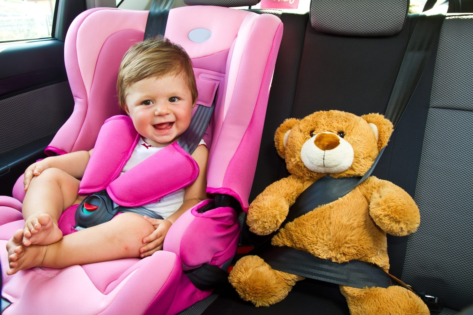 Everyone should stay buckled during your family road trip for safety's sake