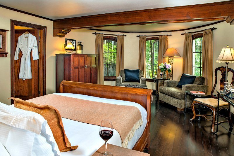 One of the lovely rooms at Applewood Inn for couples seeking to get away from it all in Sonoma Valley