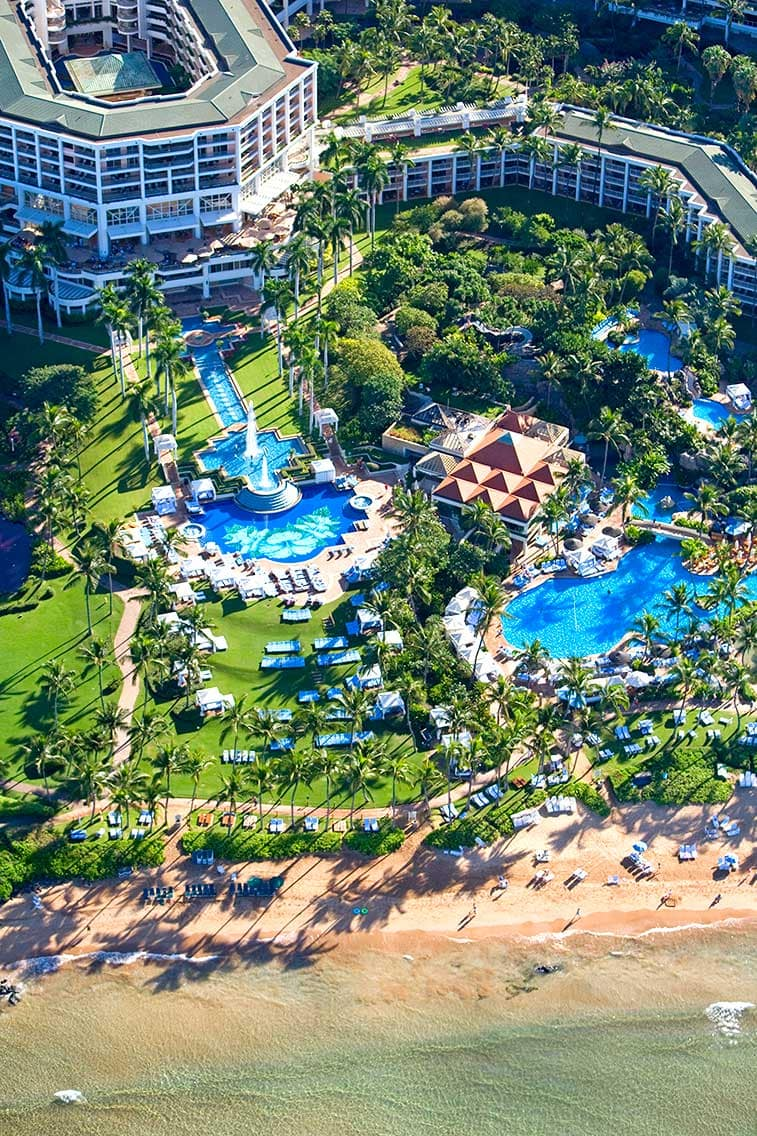 Aerial view of Grand Wailea's extensive pool offerings ~ Best Hotel Pools in Hawaii for Famlies