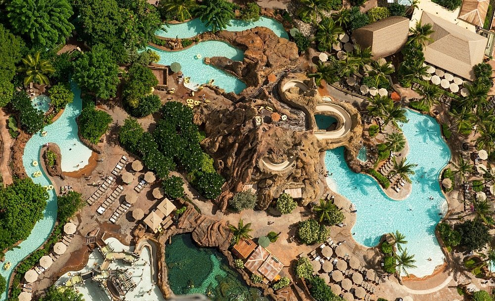 Disney Aulani Resort's impressive pool complex ~ Best Hotel Pools in Hawaii for Families