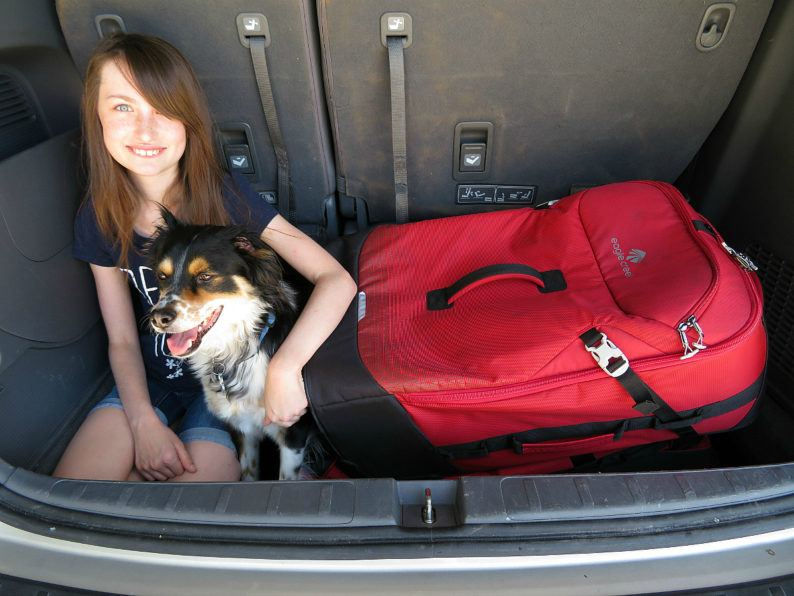 The Eagle Creek Expanse Drop Bottom Duffel and Flat Bed easily fit into the back of my minivan along with my daughter and dog! ~ Durable Luggage for Family Travel