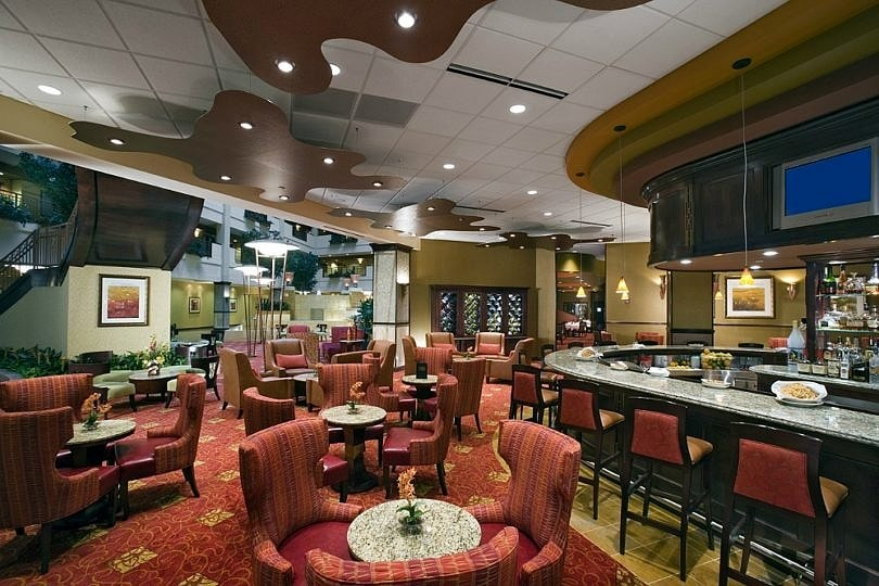 The on-site bar is a fun place to grab a drink and chat at Embassy Suites Huntsville