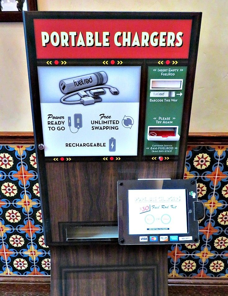 FuelRod portable chargers vending machine at Disney California Adventure ~ How to Charge Your Smart Phone at Disneyland
