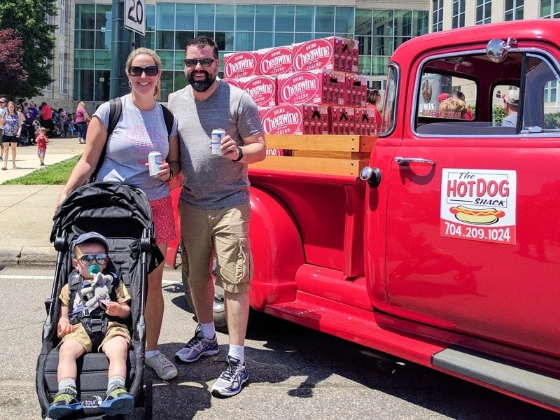 Navigating the crowds at the Centennial Cheerwine Festival with Baby Jogger City Tour Stroller