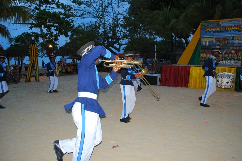 Energetic marching band at Beaches Negril
