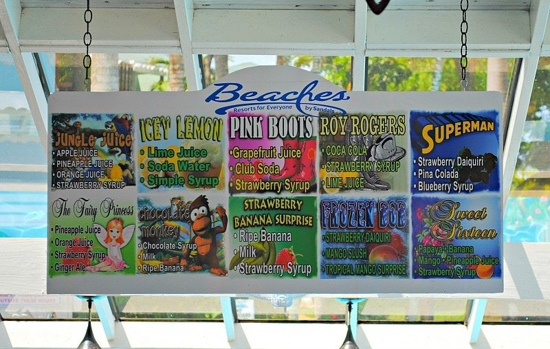 Tempting tropical drinkies for all ages at the swim-up pool bar at Beaches Negril