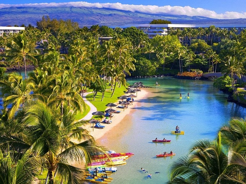 Hilton Waikoloa's four-acre lagoon ~ 10 Best Beach Hotels for Kids
