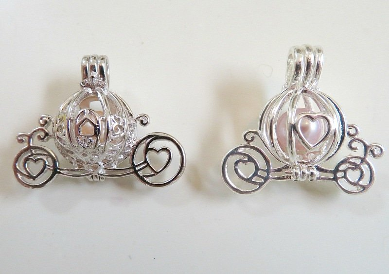 Choose a Cinderella carriage pearl cage in sterling silver on left or the more affordable option on right ~ Find Your Own Pearl from an Oyster for Disney Jewelry
