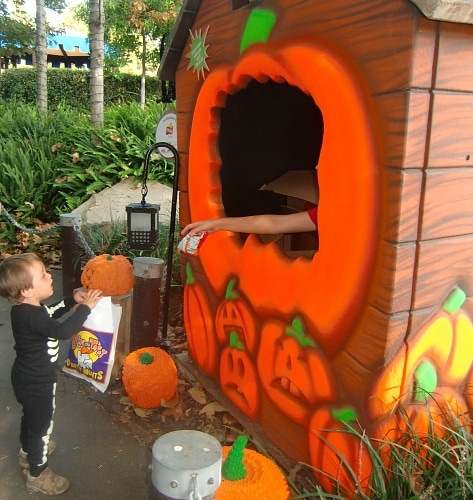 My son trick-or-treating at LEGOLAND California ~ Legoland California Halloween Activities Your Family Will Love