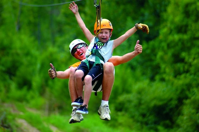 Zip-lining Fun with Adventure Zipline on Branson Family Vacation