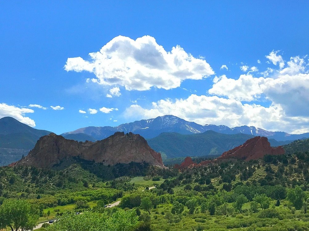 View of Garden of the Gods and Pikes Peak in the distance ~ 9 Amazing Adventures in Canon City and Colorado Springs for Families