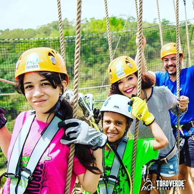 Families can tackle Bull Maze ropes course together at Toro Verde Adventure Park in Puerto Rico