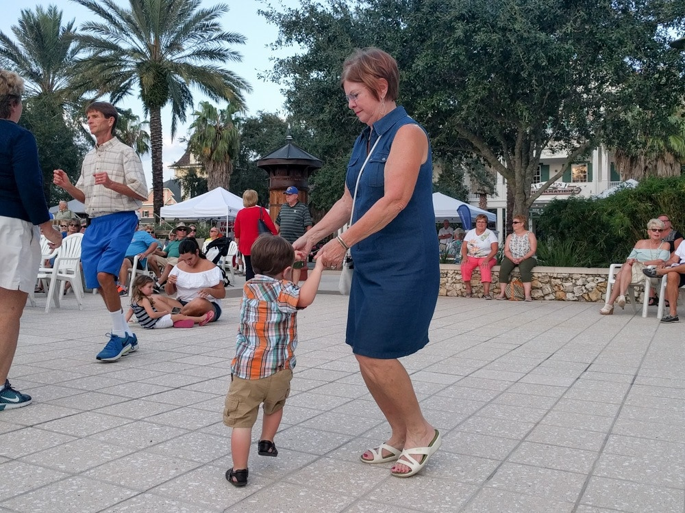 Worth the cost of airfare - Grandma and Deacon dancing in the square