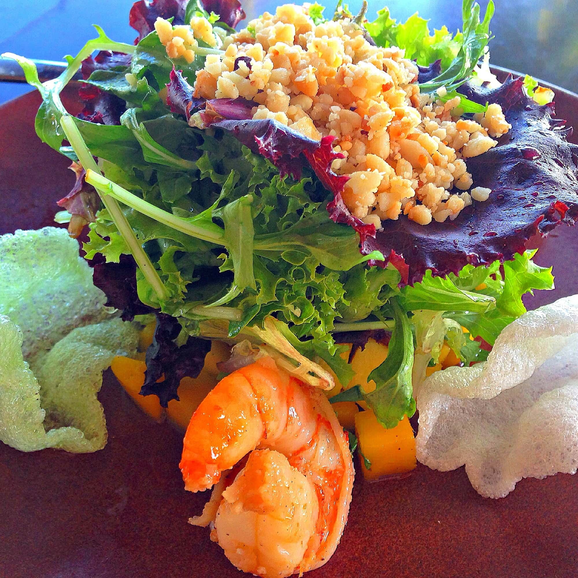 Japango's pretty Prawn and Mango Salad at Hyatt Regency Maui with kids