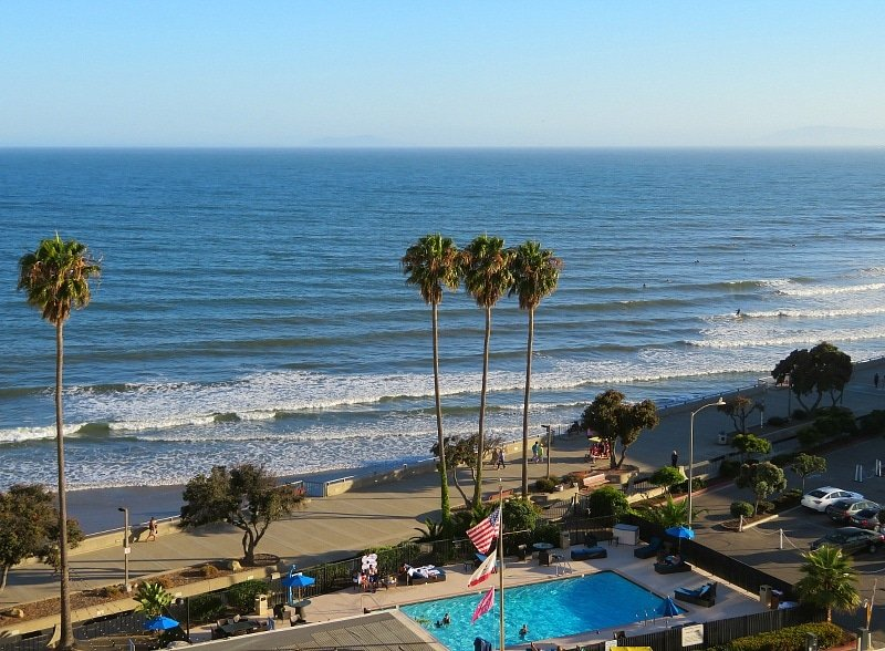 Beach and pool view from my room at Crowne Plaza Ventura Beach ~ Things to do in Ventura County California with Kids
