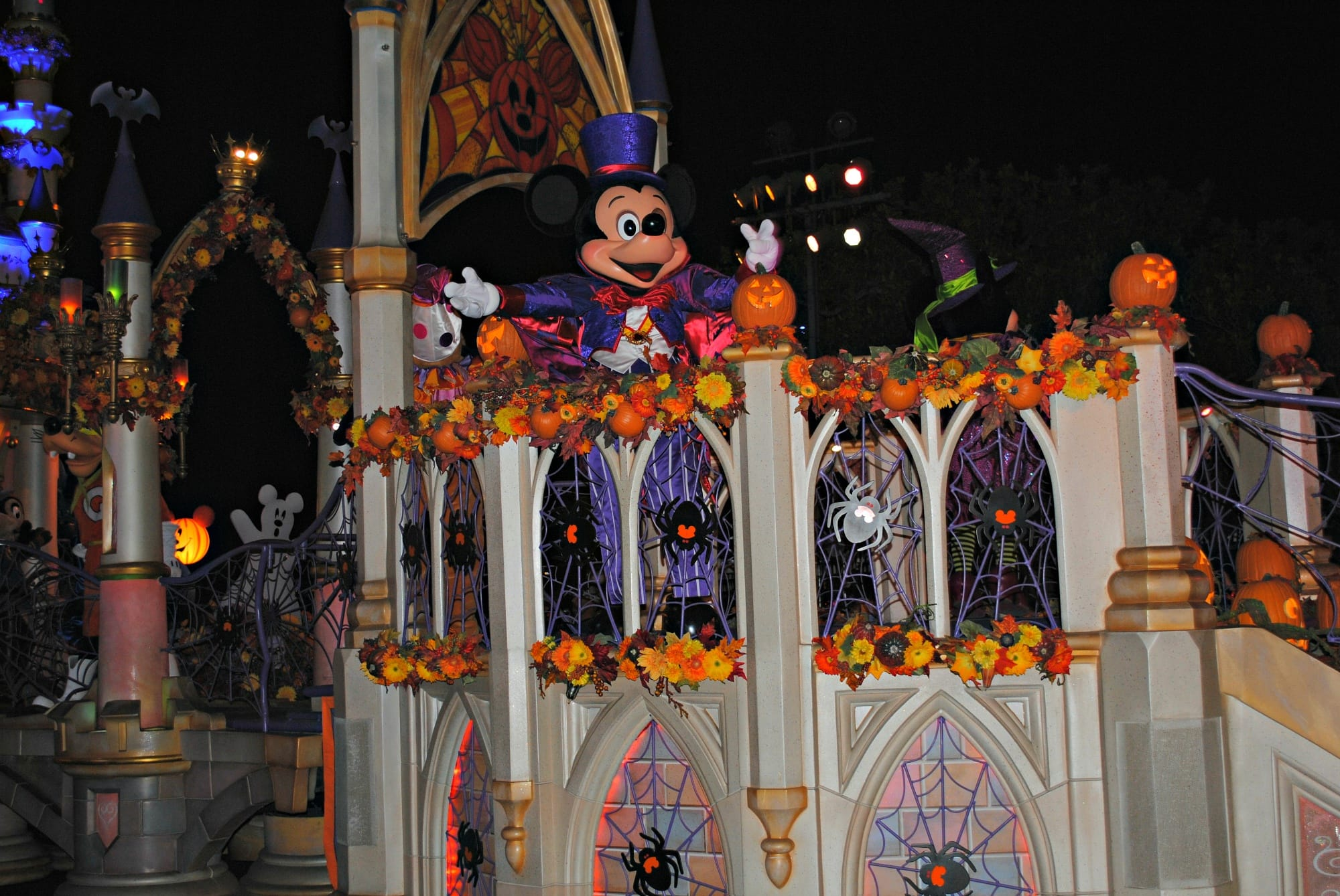 The headcheese, Mickey Mouse, in a Halloween-themed parade at Disneyland