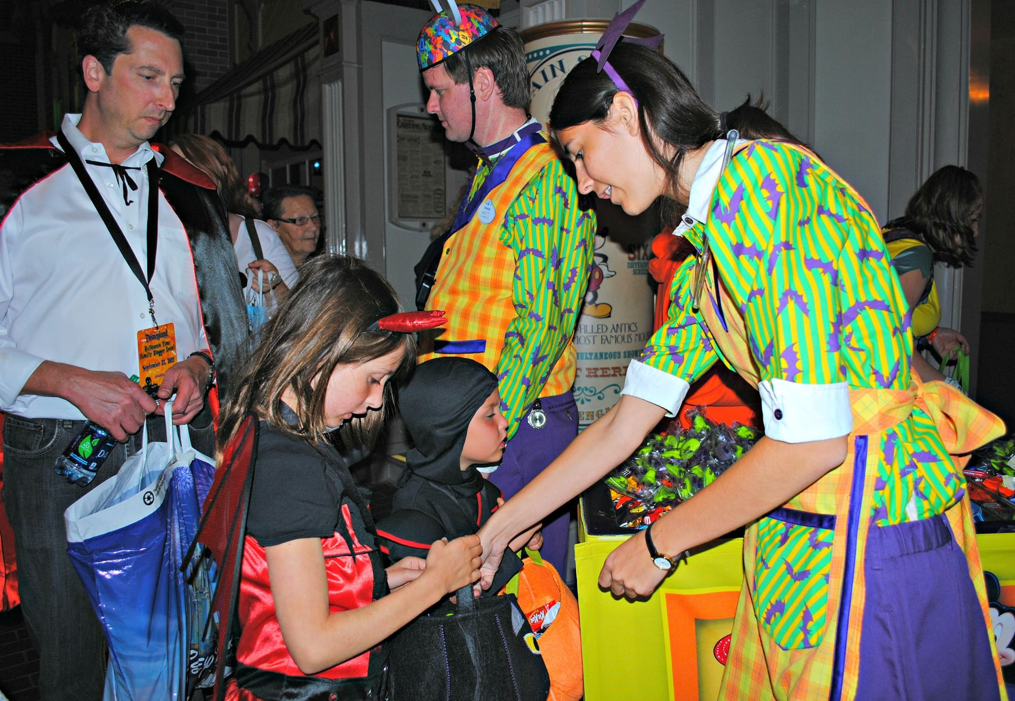 Trick-or-treating at Mickey's Halloween Party with kids