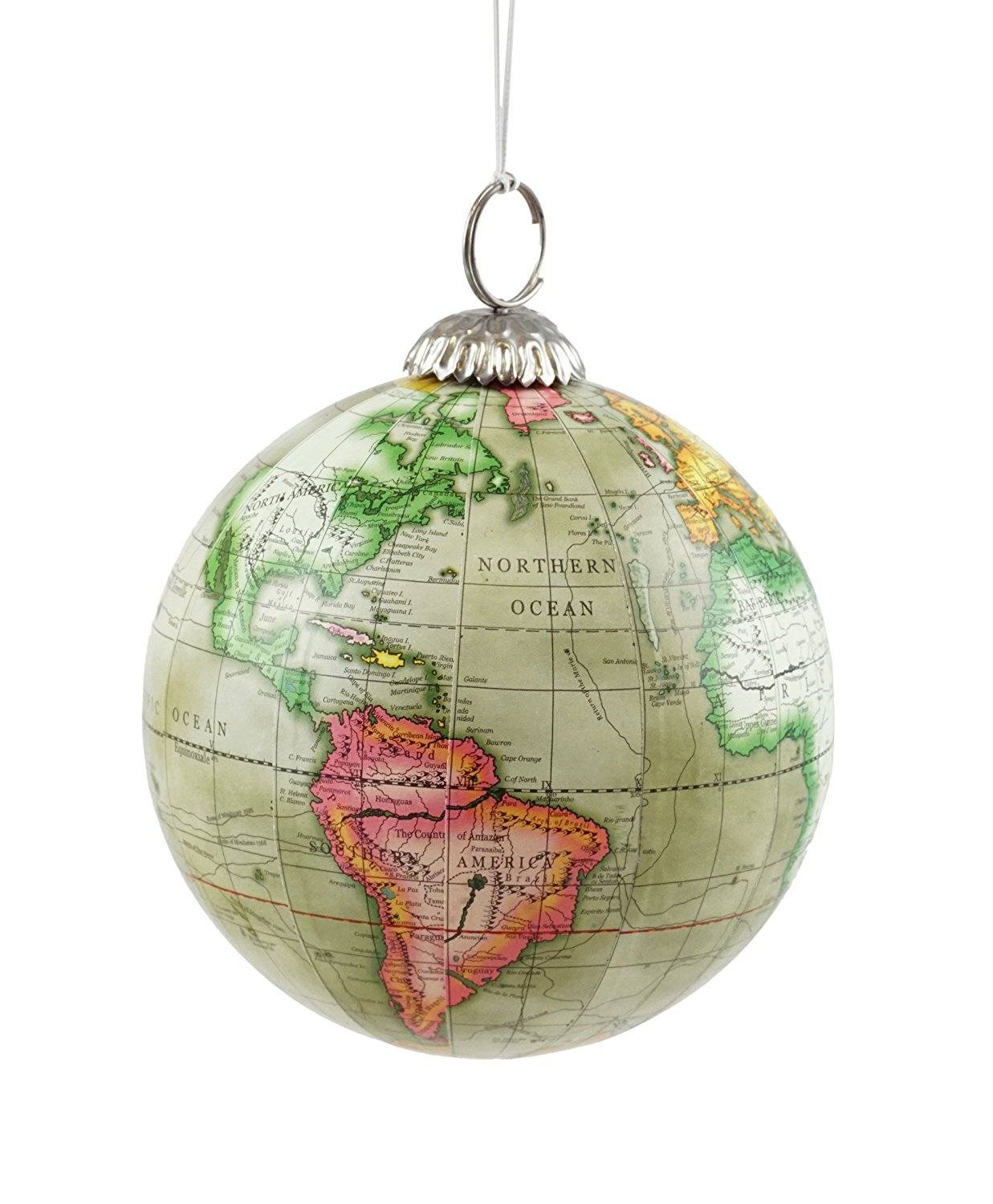Great gift ideas for travel lovers like this globe ornament