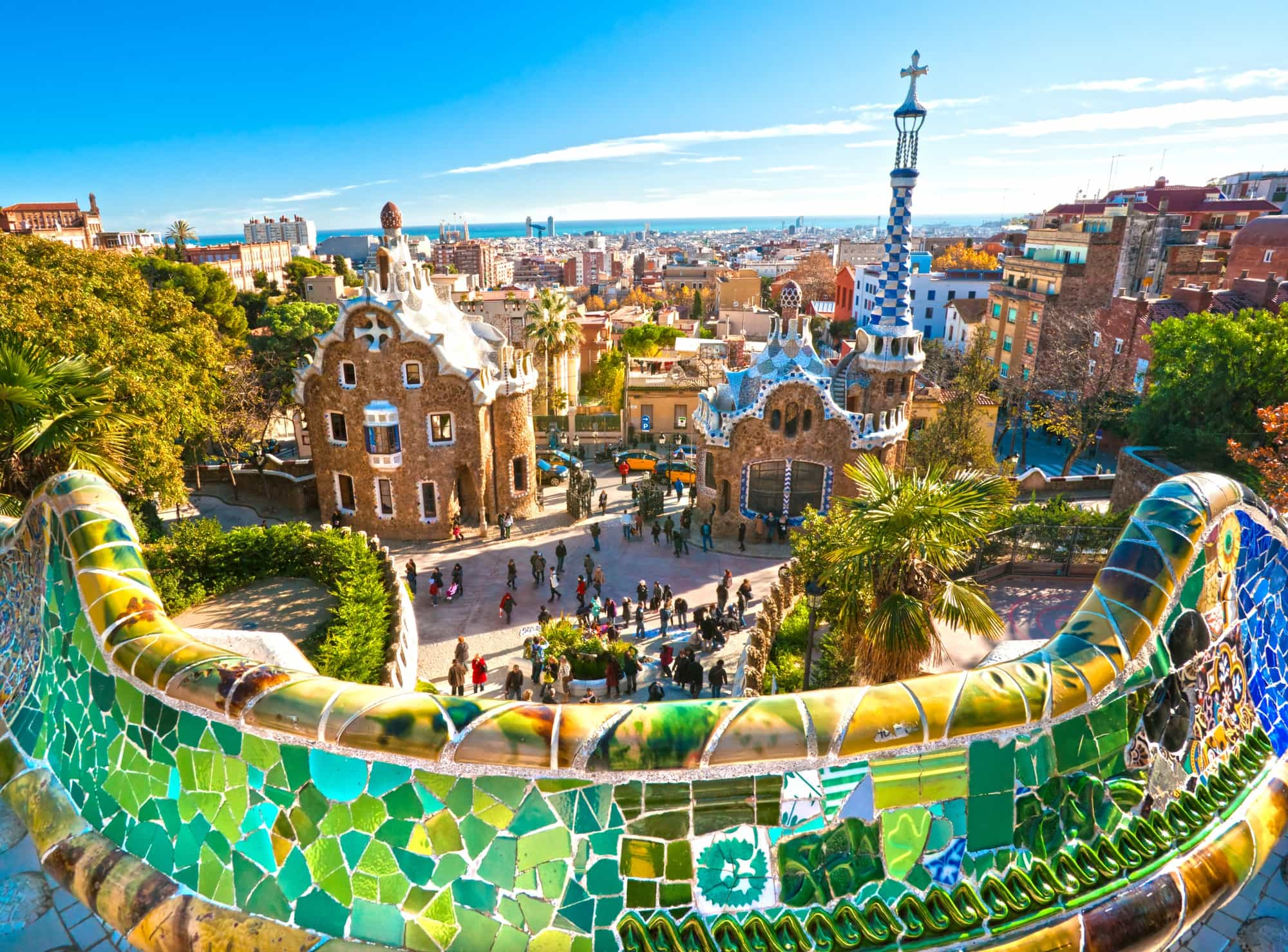 Park Guell's unique architecture in Barcelona with kids