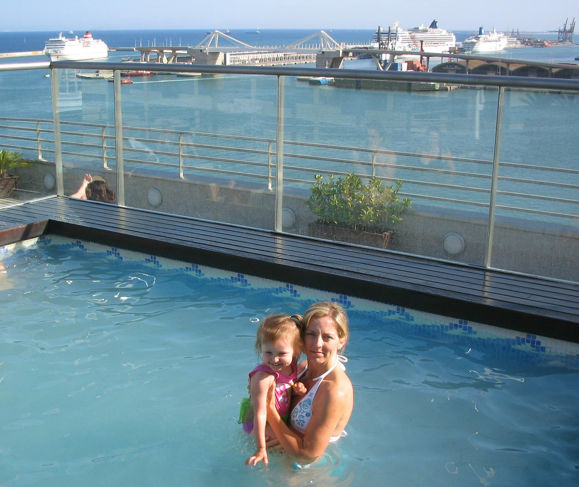 The rooftop pool at the Grand Marina Hotel in Barcelona with kids