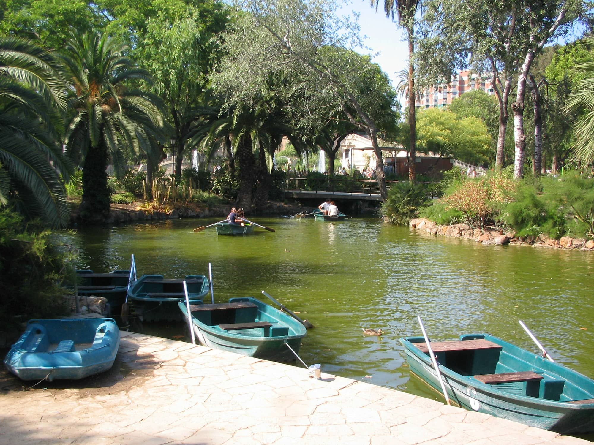 Rental row boats at Citadel Park in Barcelona with kids